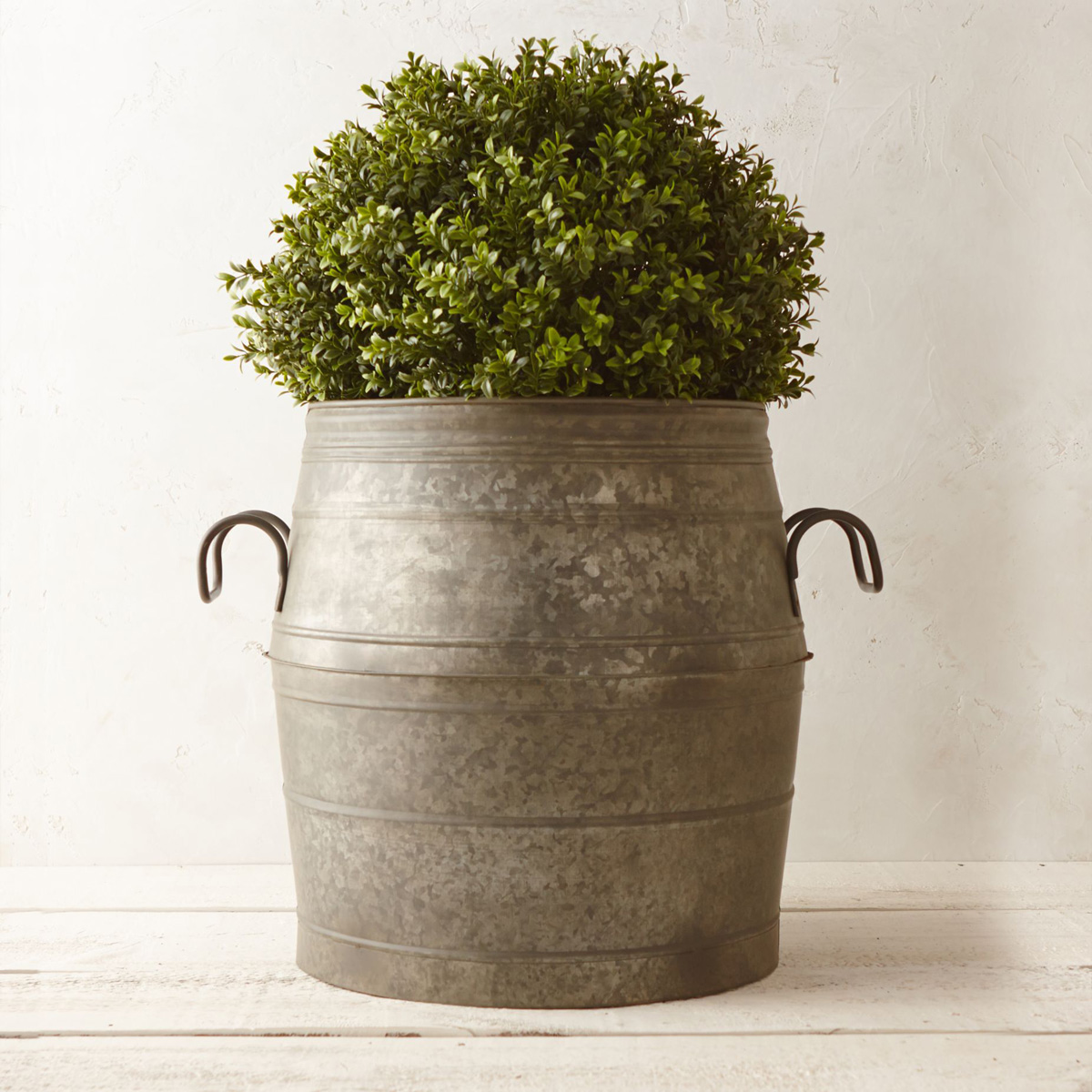 Galvanized Metal Barrel Planter The Green Head