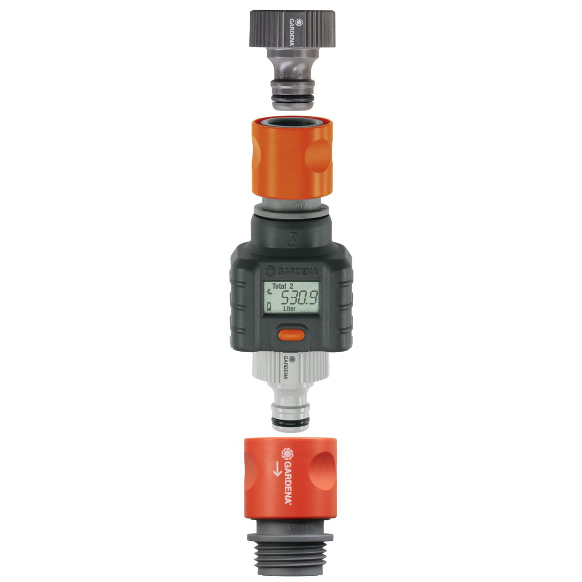 Water Flow Meter : Gardena garden hose water flow meter the green head
