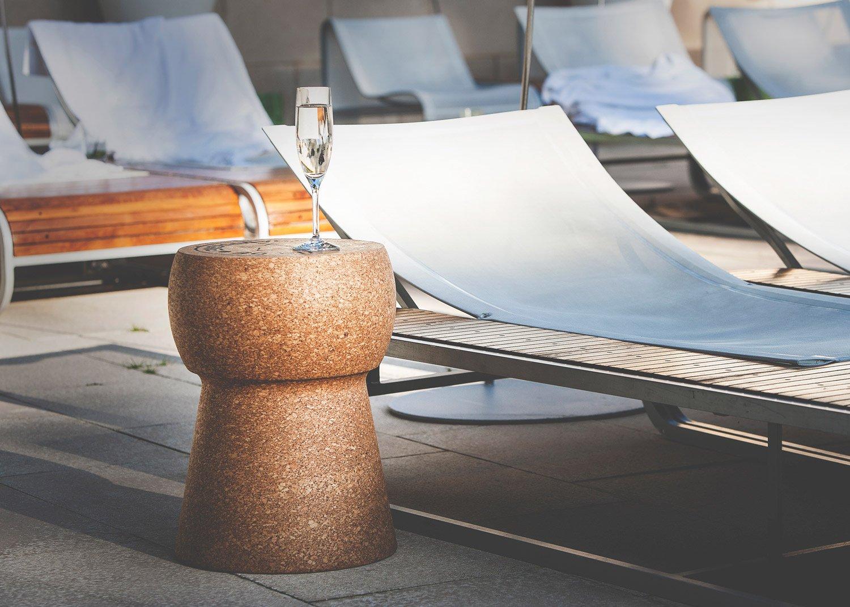 giant champagne cork stool table. Black Bedroom Furniture Sets. Home Design Ideas
