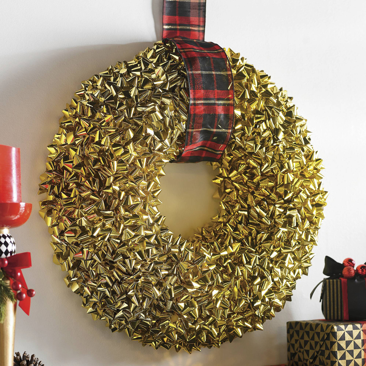 Giant Gold Bow Wreath Covered Entirely With Gift Wrap Bows