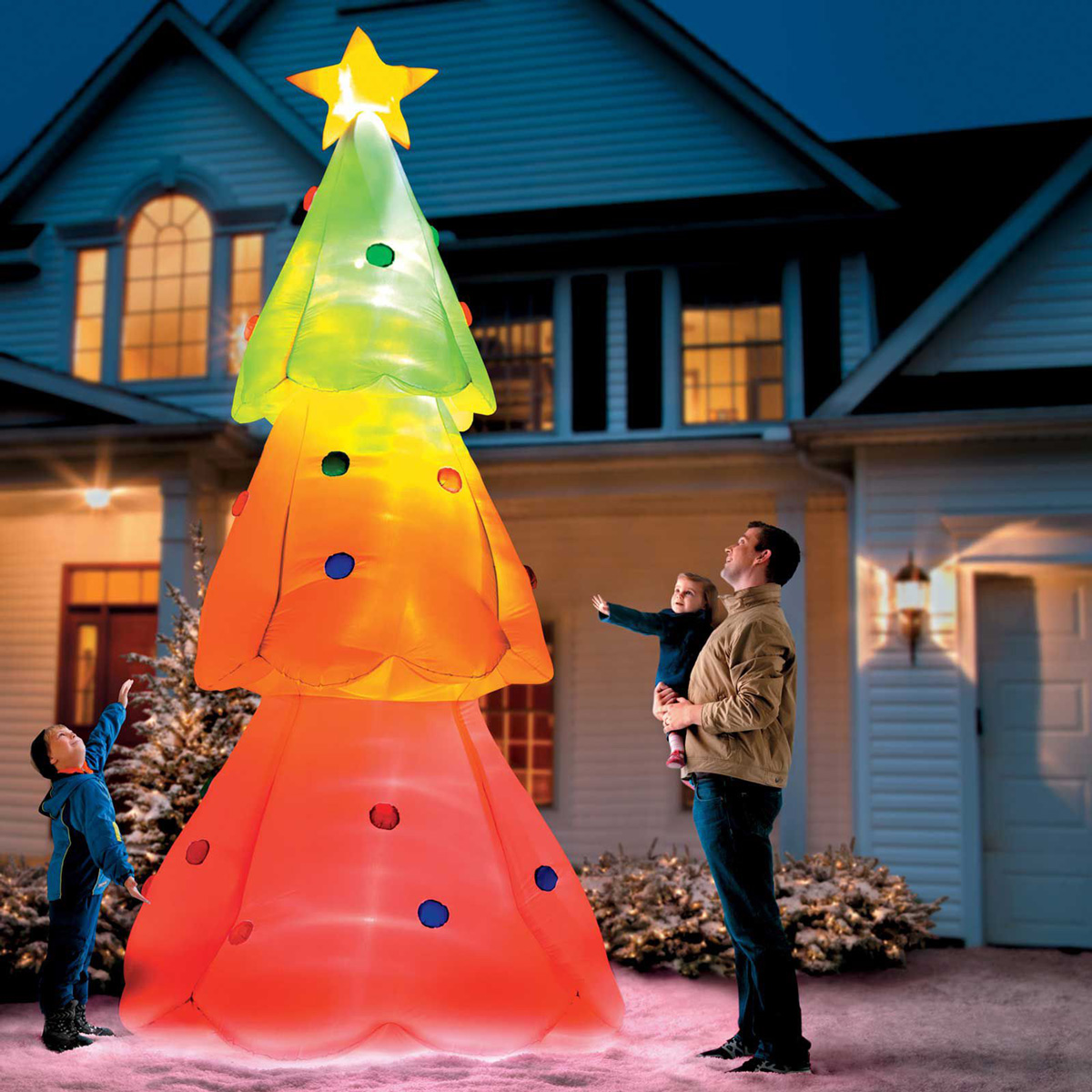 giant inflatable color changing christmas tree - Outdoor Blow Up Christmas Decorations