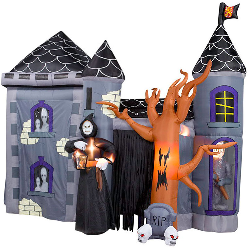 Giant Inflatable Halloween Haunted Castle Stands 12 Tall The Green Head