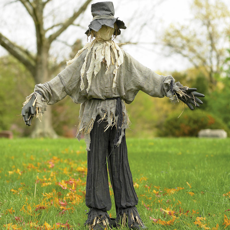 Scarecrow includes a metal stand for easy placement indoors or out