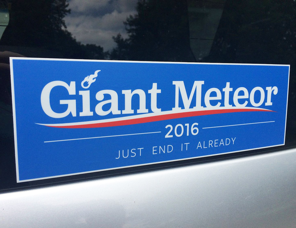 giant meteor 2016 bumper sticker the green head. Black Bedroom Furniture Sets. Home Design Ideas