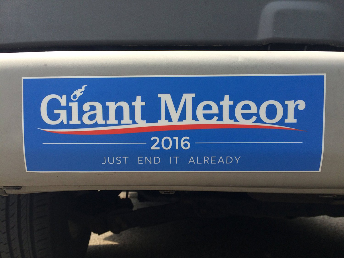 Giant Meteor 2016 Bumper Sticker The Green Head