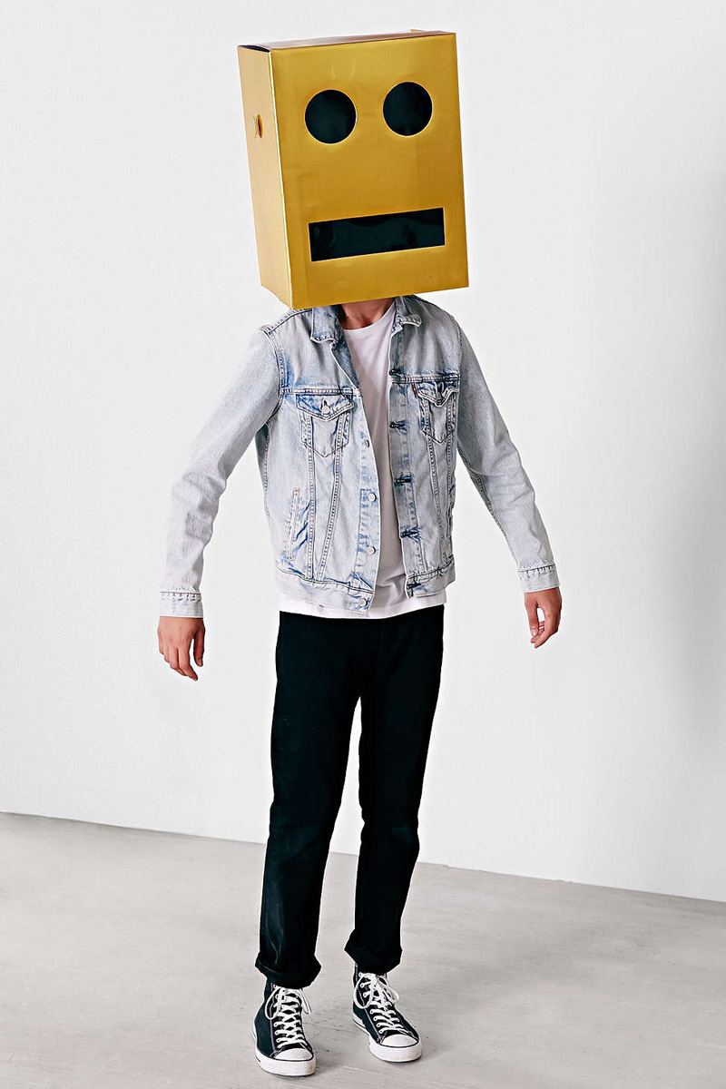 Giant Robot Block Head Costume The Green Head