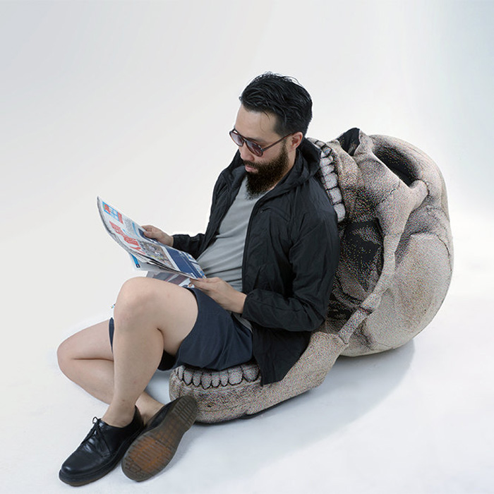 Giant Skull Chair With Movable Jaw