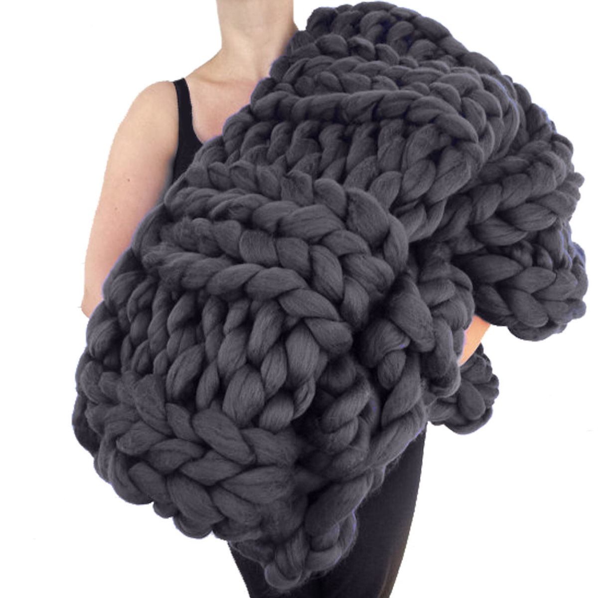 Giant Knitting Blankets : Giant super chunky knit wool blanket the green head