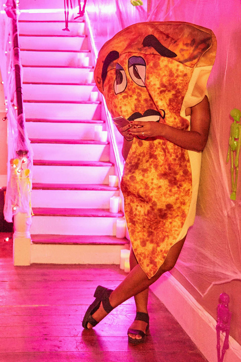 Giant Waving Slice Of Pizza Costume The Green Head
