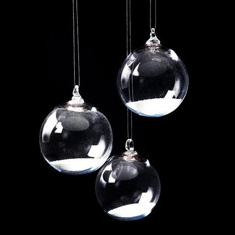 Glass Snow Globe Holiday Ornaments
