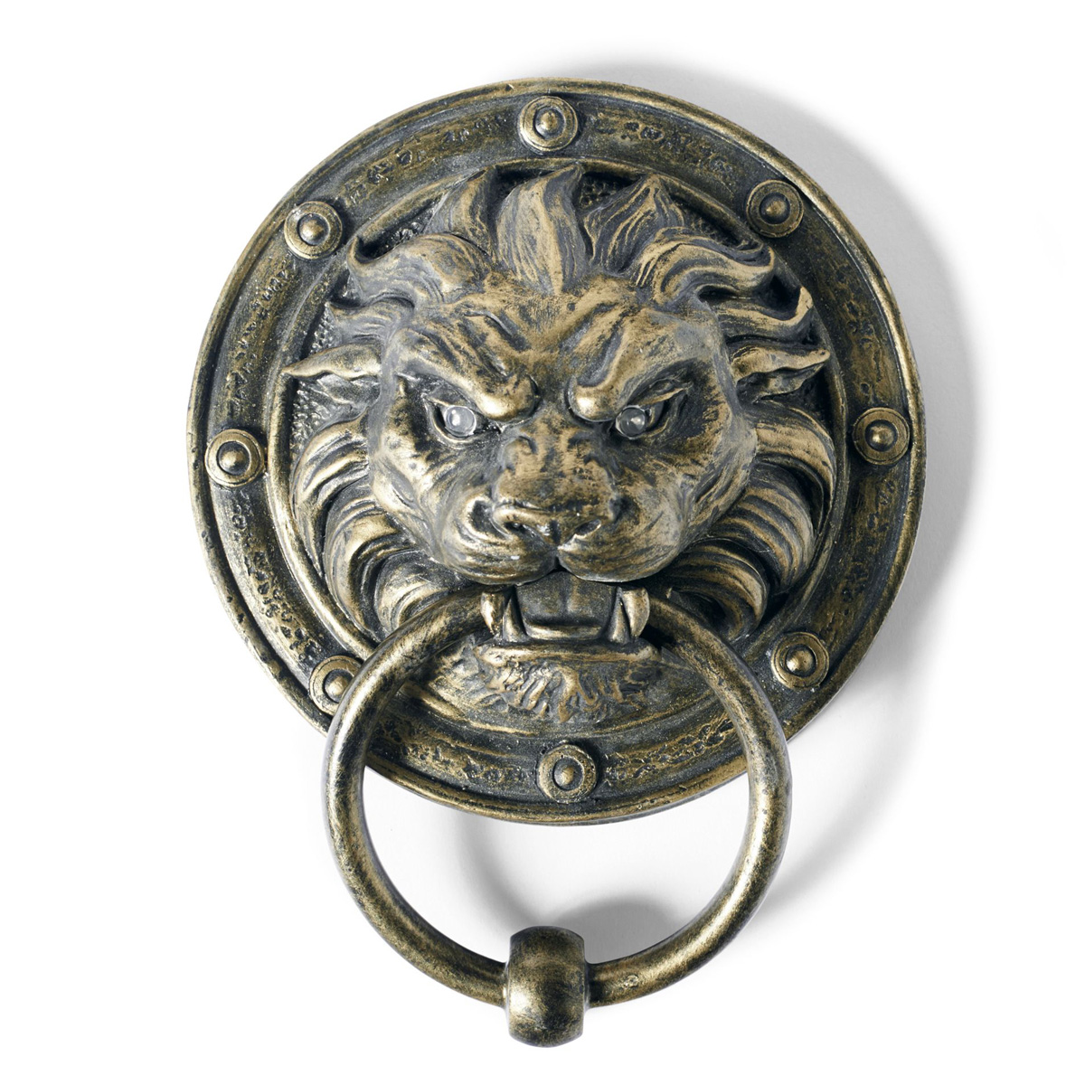 Creepy Lion Door Knocker WIth Glowing Eyes