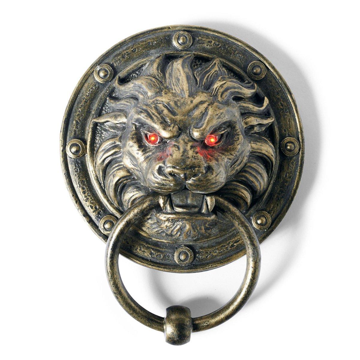 Creepy Lion Door Knocker WIth Glowing Eyes  The Green Head ~ 003642_Halloween Door Knocker