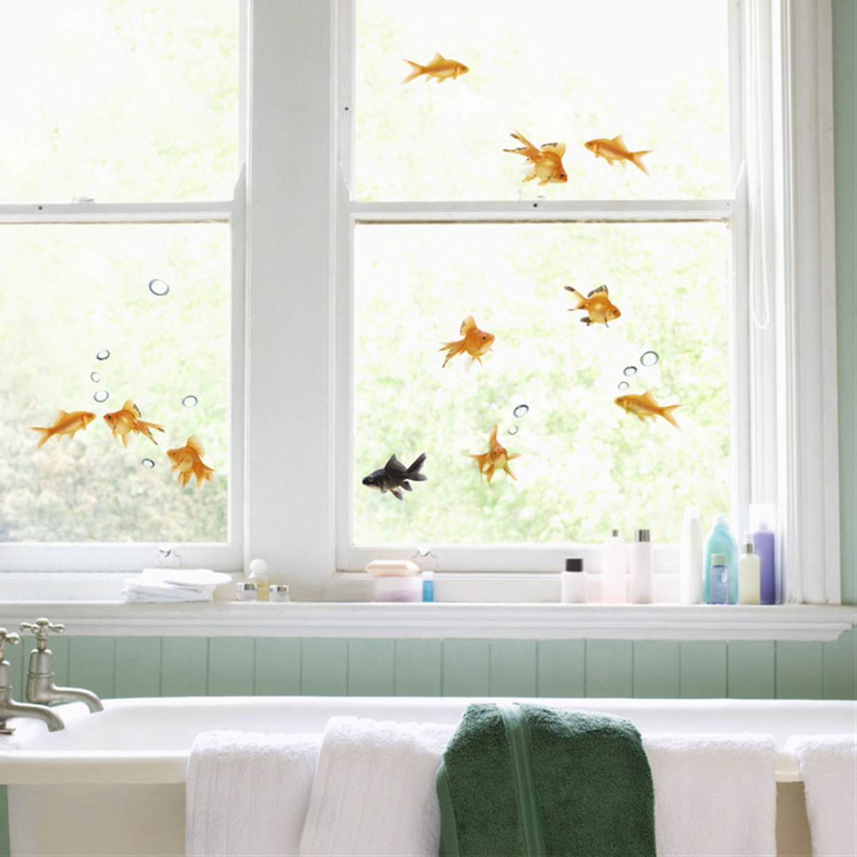Goldfish window decals the green head - Cristales decorativos para paredes ...