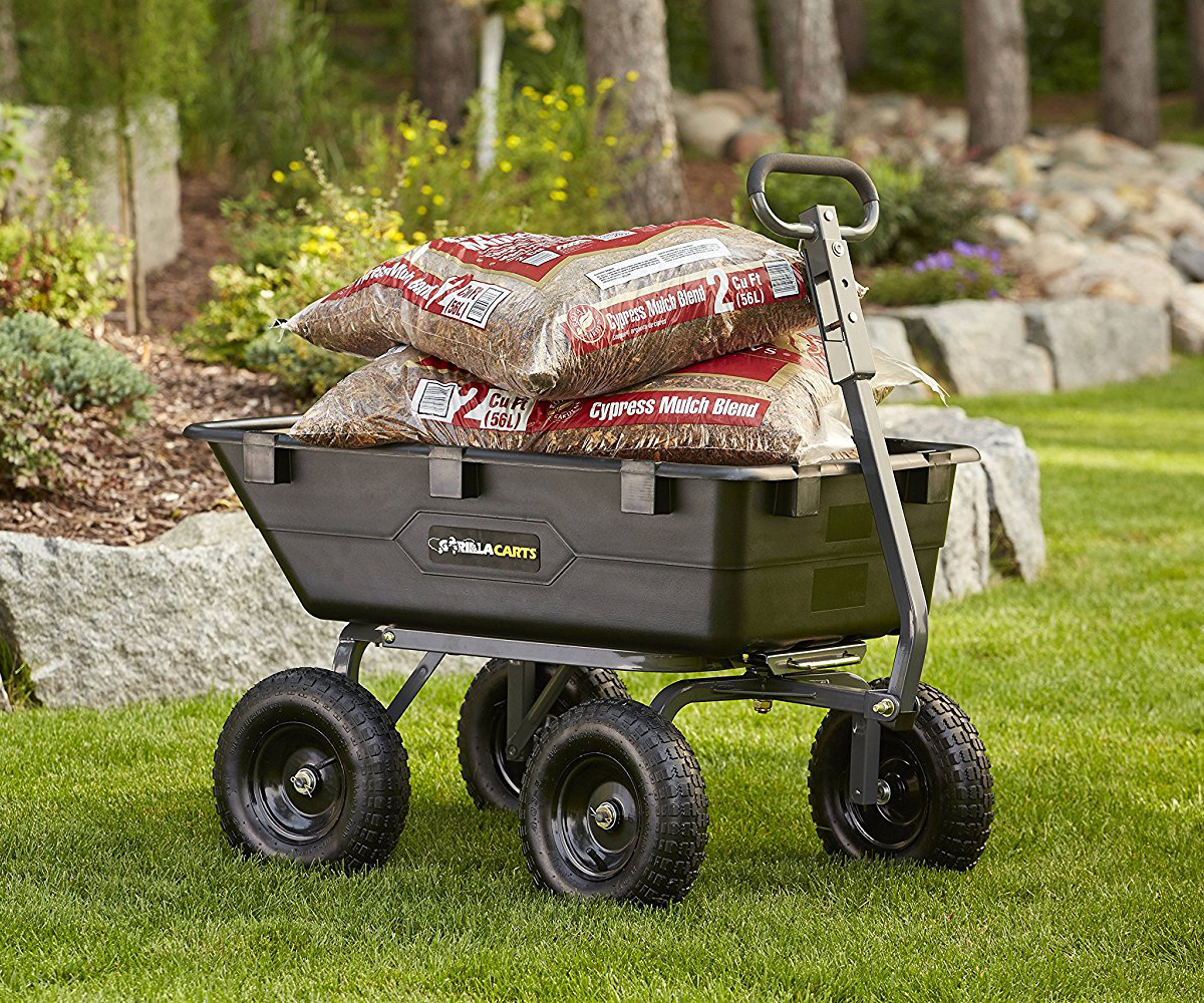 Gorilla Carts Poly Garden Dump Cart With 2 In 1