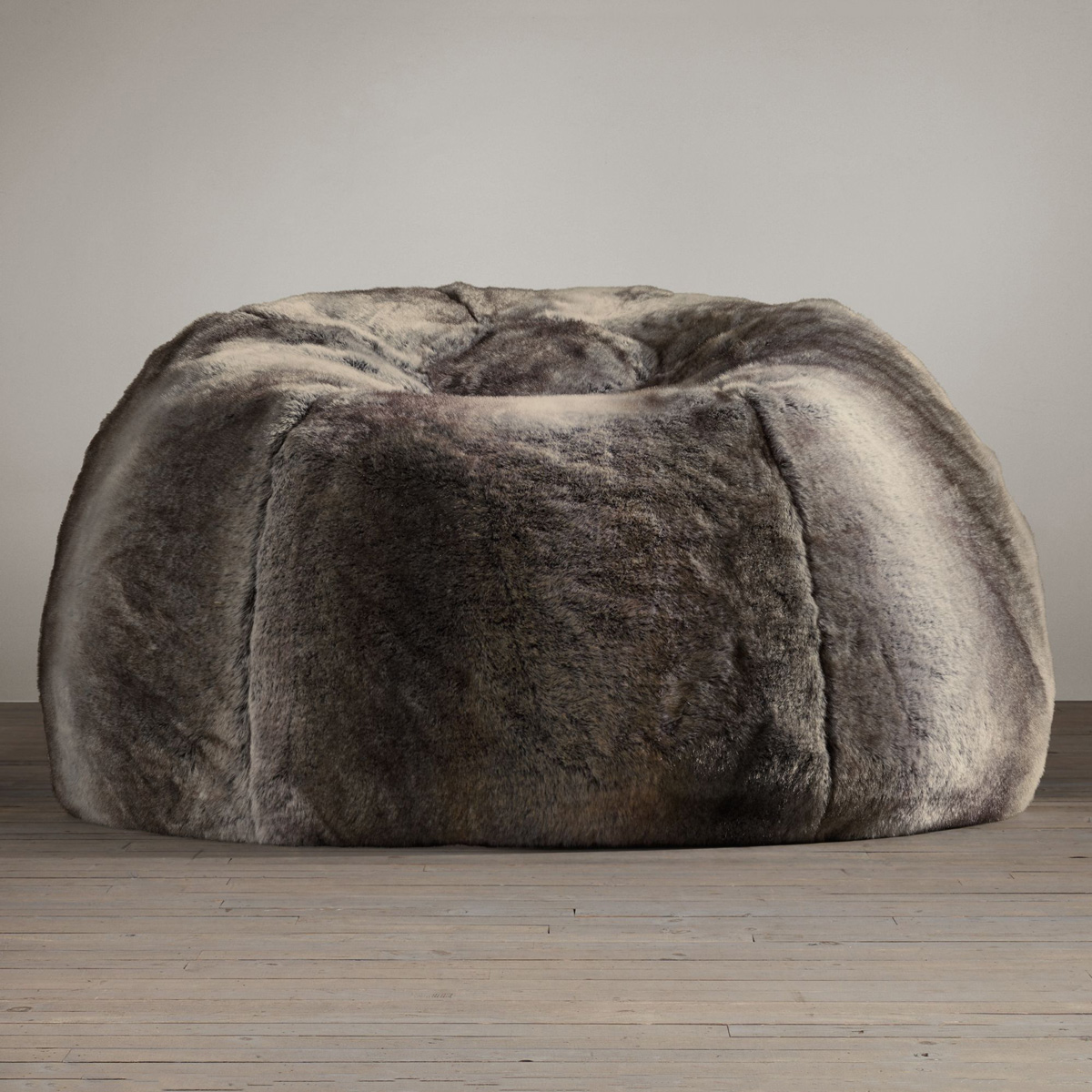 Grand Luxe Faux Wolf Fur Bean Bag Chair
