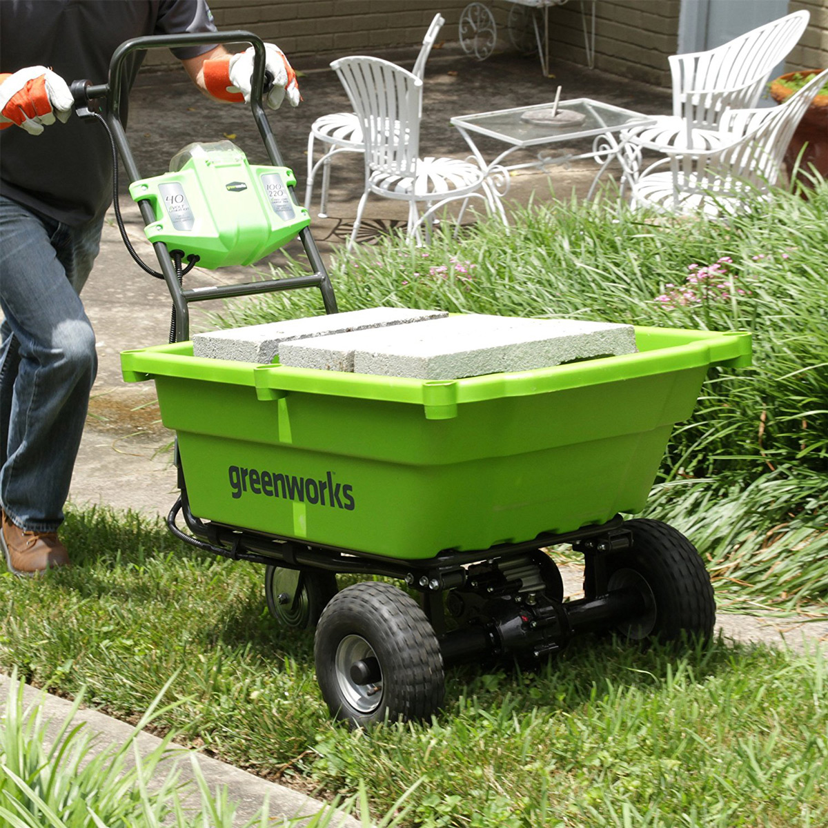 Self Propelled Cart >> Greenworks 40V Self-Propelled Wheelbarrow / Garden Cart - The Green Head