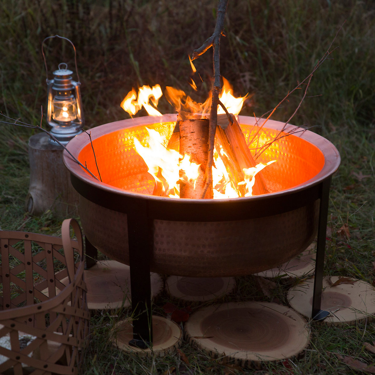Table Fire Pit : Handcrafted copper fire pit grill table the green head