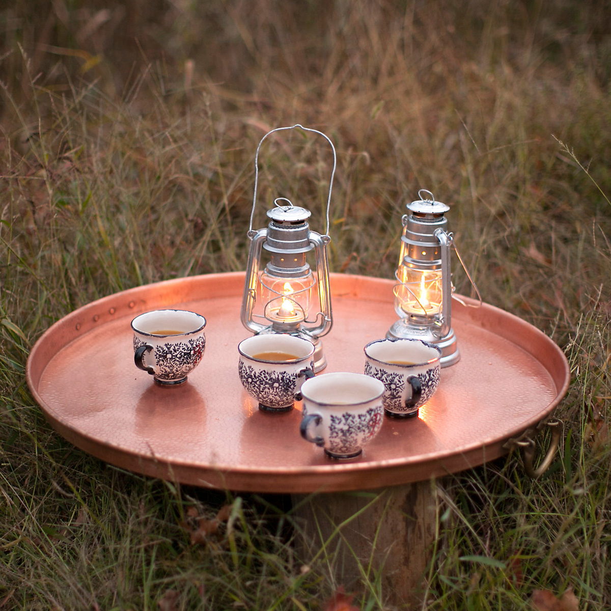 Handcrafted Copper Fire Pit Grill Table