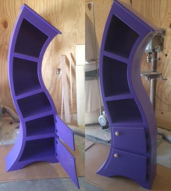 Handmade Curved Wooden Bookshelves