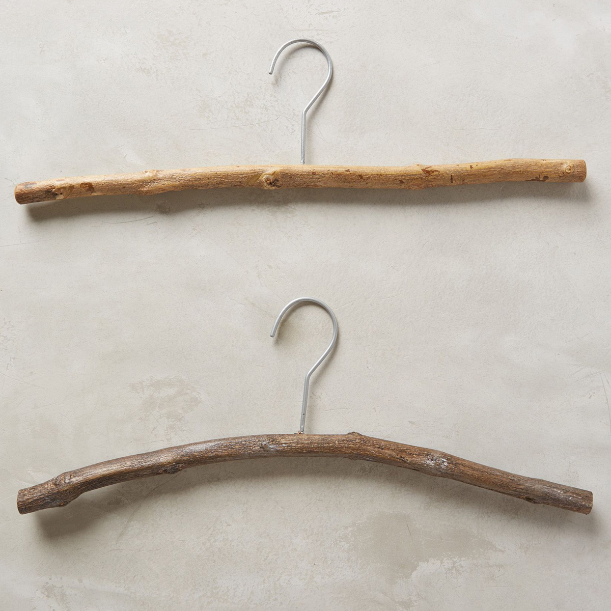 Handmade fallen tree branch hangers the green head - Unusual uses for wire coat hangers ...