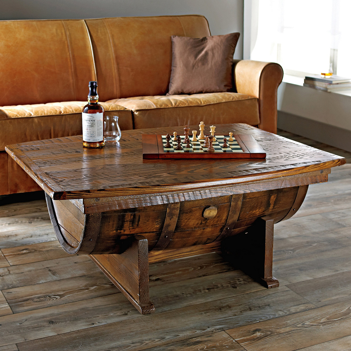 Handmade Vintage Oak Whiskey Barrel Coffee Table - The Green Head