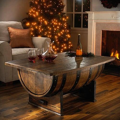 Handmade Vintage Oak Whiskey Barrel Coffee Table - Handmade Vintage Oak Whiskey Barrel Coffee Table - The Green Head