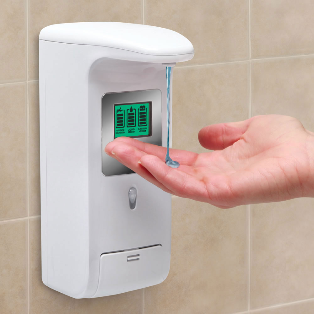 Hands free wall mounted shower dispenser the green head - Wall mounted shampoo and conditioner dispenser ...