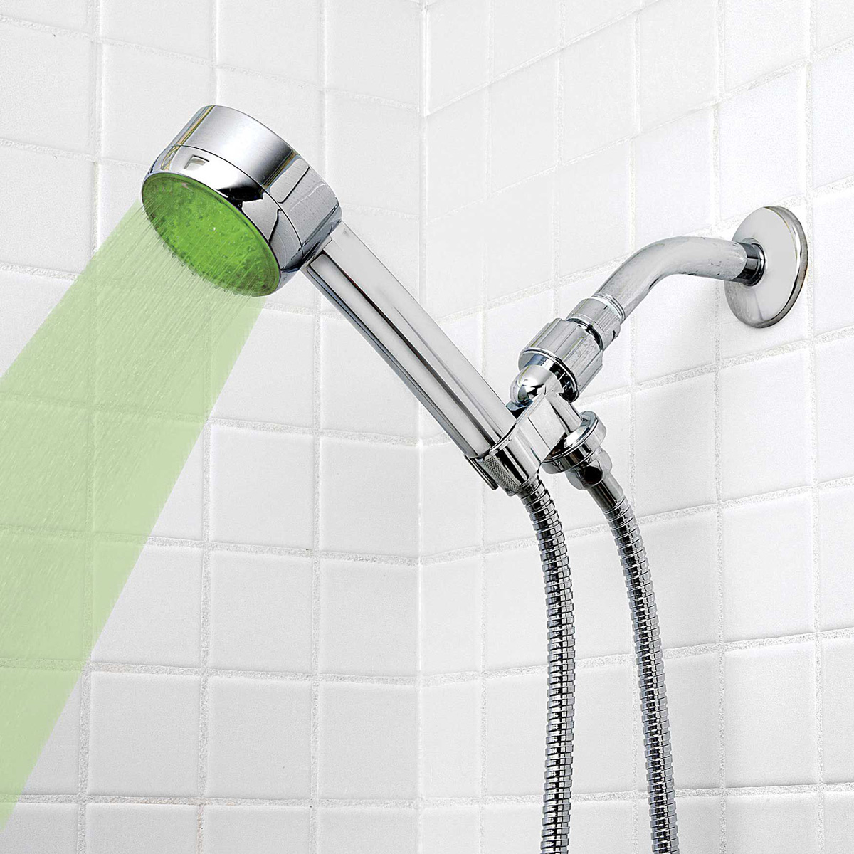HealthSmart LumaTemp - LED Color Changing Shower Head - The Green Head