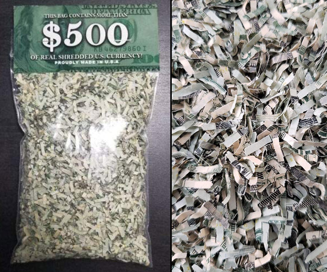 100% Real Shredded Money - Sealed Bag Stuffed With Up To $500!