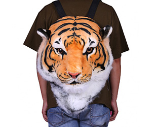 3D Tiger Head Plush Backpack