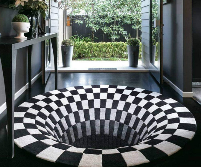 3D Vortex Optical Illusion Rug