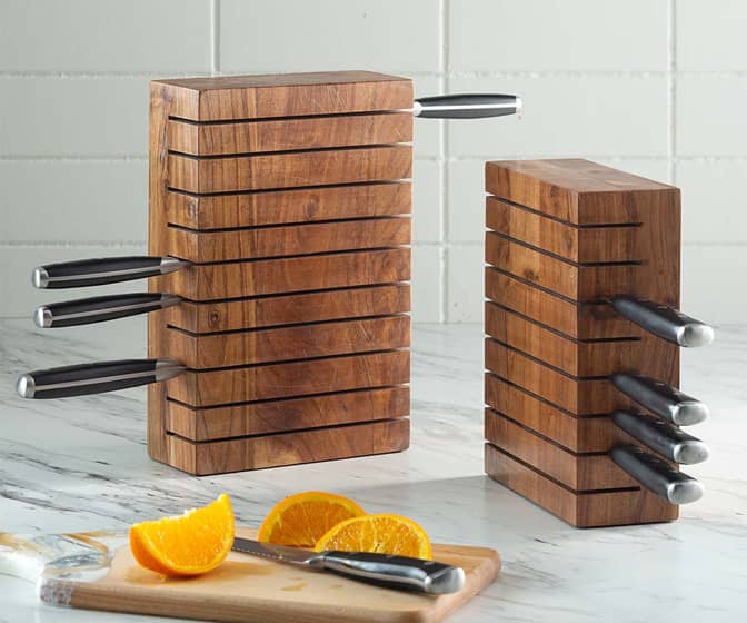 Acacia Wood Horizontal Knife Block