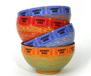 Admit One - Real Movie Ticket Bowls