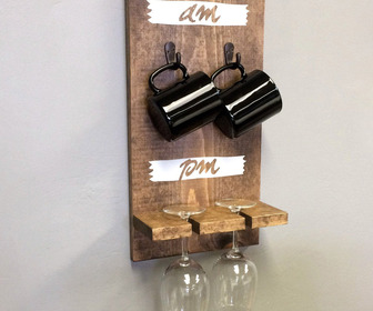 AM/PM Wooden Coffee Mug Holder and Wine Glass Rack