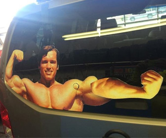 Arnold Schwarzenegger Flexing Rear Window Wiper Decal