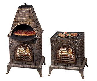 Aztec Allure - Wood-Fired Pizza Oven, Grill, and Fireplace / Chiminea