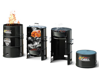 Batavia 4Grill BBQ Barrel - 4-in-1 Charcoal Grill, Smoker, Slow Cooker, and Fire Pit