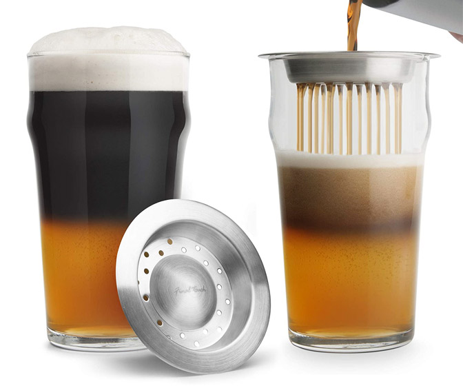 Black and Tan Beer Layering Tool and Glass Set