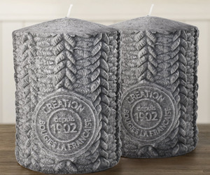 Cable Knit Sweater Pillar Candles