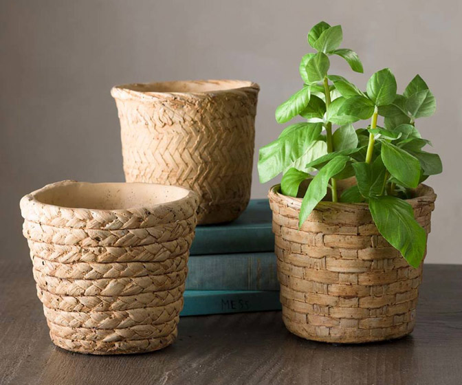 Cement Basket Planters