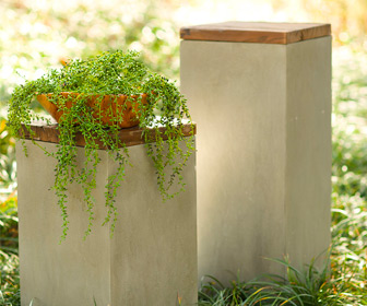 Cement And Reclaimed Wood Box Plant Stands