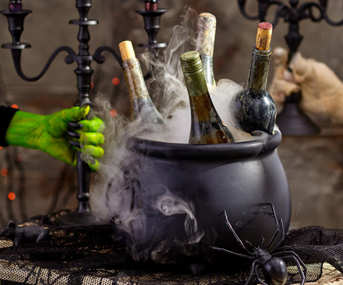 Ceramic Witch Cauldron Wine Bottle Chiller
