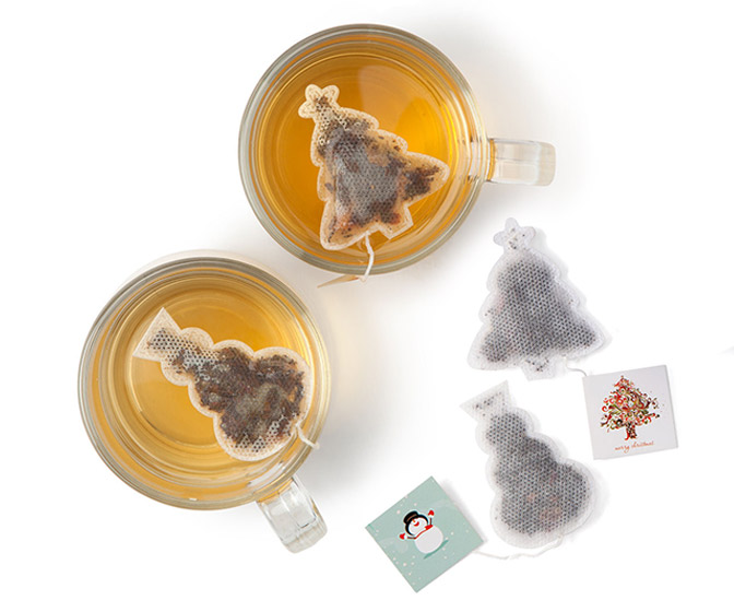 Christmas Tree and Snowman Shaped Holiday Tea Bags