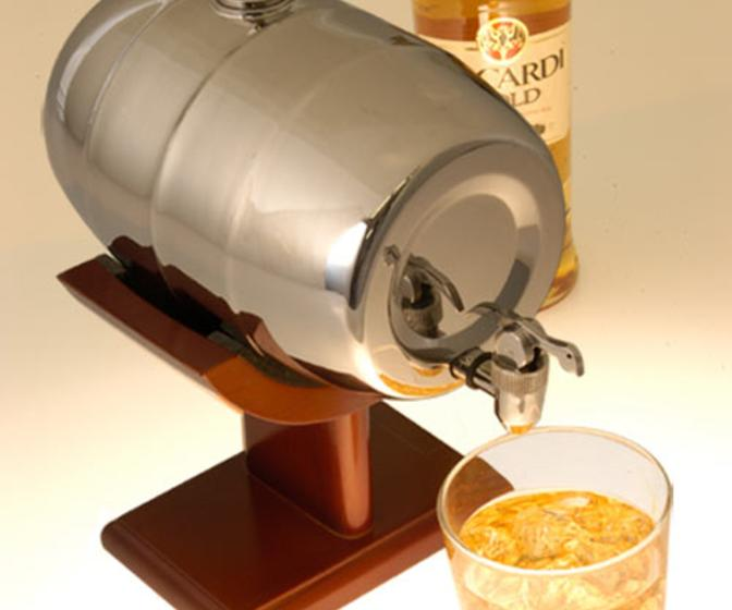 Chrome Keg-Style Liquor Dispenser With Wooden Stand
