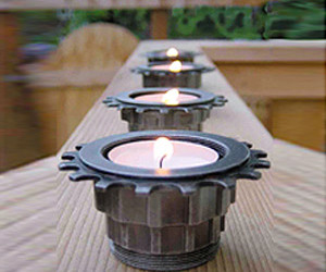 Cog Tea Light Holders - Made From Recycled Bicycle Parts