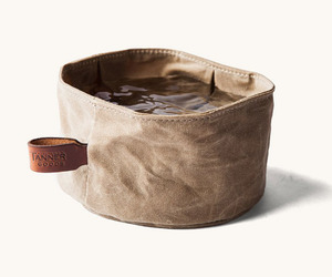 Collapsible Waxed Canvas Dog Bowl