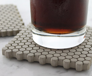 Concrete Hexagon Coasters with Cork Bottoms