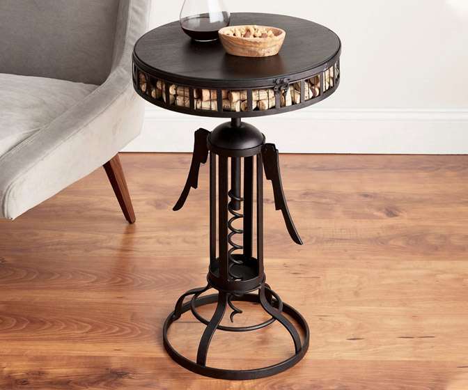 Corkscrew Cork Catcher Accent Table