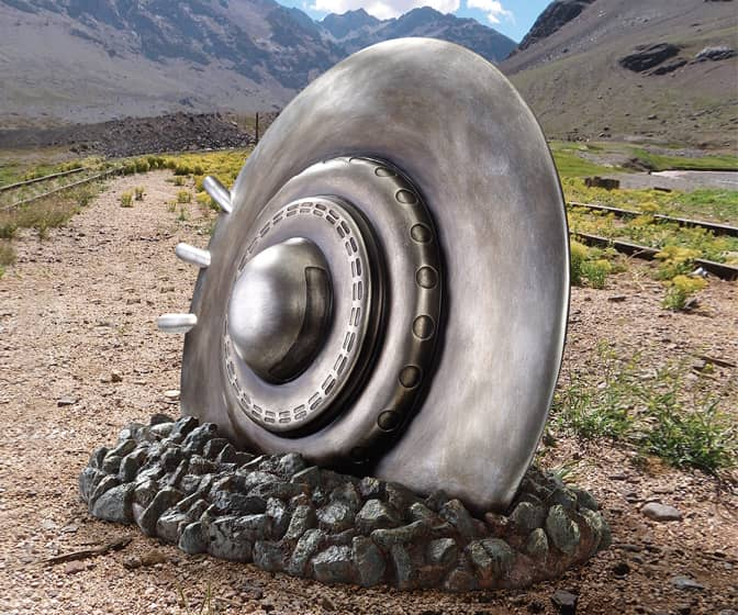 Crashed Flying Saucer Statue