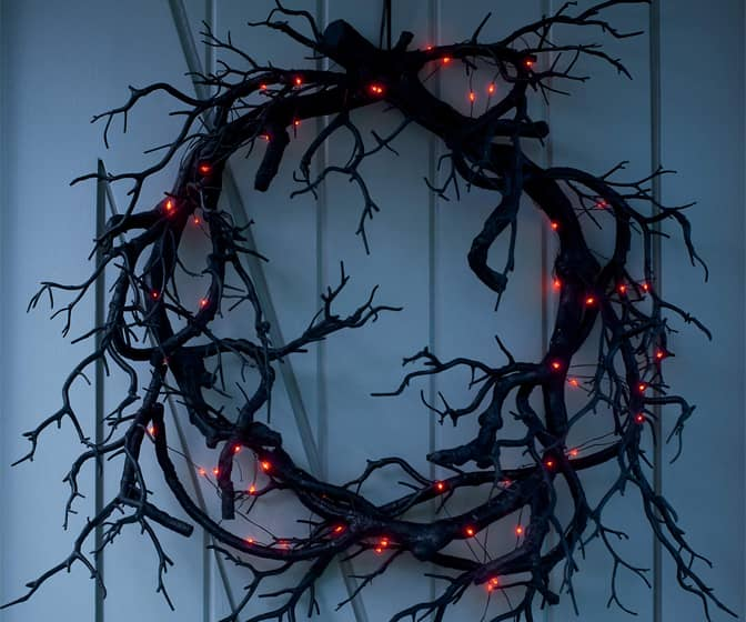 Creepy Black Branch Wreath